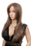 Prettyland C166 - 60 cm long wig natural brown light brown smooth hair natural