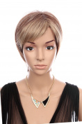 Prettyland C128 - Wig short hair brown & blond highlights natural stepped fringe