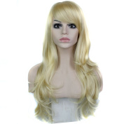 Royalvirgin Side Part Long Boby Wave Synthetic Wig with Bangs Women Hair/Wig Cosplay Midsplit Wigs Blonde 613