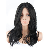 Tonake Long Black Curly Wavy Wig Hair Heat Resistant Hair Full Head Wig for Women