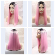 fashion pink ombre short bob wig synthetic lace front wigs heat resistant fibre hair with dark roots