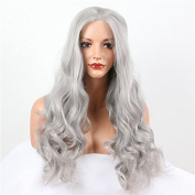 top quality grey long wavy synthetic lace front wig for women heat resistant fibre synthetic hair