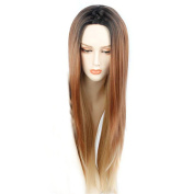 Tonake Long Straight Dark Roots Ombre Black to Brown Synthetic Hair Wig for Women
