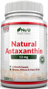 Astaxanthin 12mg - 180 Softgels (6 Month Supply) - Highest Strength Astaxanthin From Nu U Nutrition