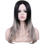 Royalvirgin 60cm Ombre Wig Synthetic Hair for Black Women Long Cheap Wig Black To Grey Ombre Straight Wig Heat Resistant Fibre peruca pelucas perruque