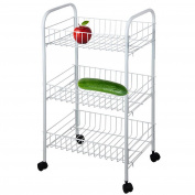3 Tier Vegetable Fruit Rack Trolley Cart Kitchen Stand with Wheels Flat Pack Basket Food Storage 63x24x37cm