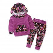 Newborn Baby Girl Hoodie T-shirt Top + Pants Leopard Print Outfits Set Kids Clothes