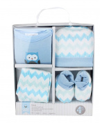 Honey Bunny Newborn Owl Gift Set Four Piece Cotton Baby Boys Blue Set in Box