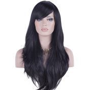 DAOTS 28 Wig Long Heat Resistant Big Wavy Hair Women Halloween Cosplay Wig (black) by DAOTS