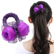 2015 New From Factory 1pc gauze purple rose Flower Design Women Girl Hair Elastic Tie Hair Rope Rubber band Scrunchie Hair Accessories