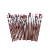 CINEEN 20 Pcs Makeup Brush Set tools Make-up Toiletry Eyeshadow Eyeliner Lip Makeup Brushes,Brown + Silver