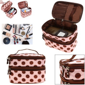 JJOnlineStore - Cute Double Layer Zips Polka Dots Pattern Makeup Cosmetic Storage Portable Bag with Zippers Travel Toiletries Multi Functional Organiser Bag
