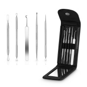 Blackhead Remover Kit, Saxhorn Comedone Extractor Tool for Acne Pimple, Whitehead Treatment Tools - Stainless Steel