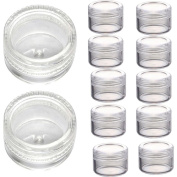 Ularma 50Pcs Clear Plastic Empty Cosmetic Sample Containers Jars Pots Small 3g