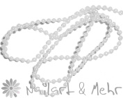 Ball chain/Nail Chain ~ ~ ~ ~ Filigree White Pearls and Chain 30 cm Long, Diameter Approx. 1 mm
