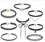 XINW 8 Pieces Choker Necklace Set Stretch Velvet Classic Gothic Tattoo Lace Choker Necklaces, Black