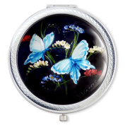 Vanroe 'Blue Butterfly & Freesias' Designer Compact Mirror in Gift Box - Magnified, Luxury Birthday Idea