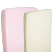 2x Fitted Sheets Compatible With Snuzpod Bedside Crib 100 % Cotton - Cream/Pink-By For-Your-Little-One