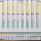 BreathableBaby Crib Skirt- Aqua Mist/Grey Stripe