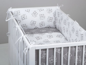 Two colour baby cot bumper 360° designed by DREAMzzz handmade for bed with dimensions 60x120cm