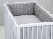 Two colour baby cot bumper 360° designed by DREAMzzz handmade for bed with dimensions 70x140cm