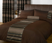 Just Contempo Striped Duvet Cover Set, Double, Brown