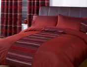 Just Contempo Striped Duvet Cover Set, Double, Red