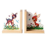 Baby Deer And Bunny Wooden Bookend