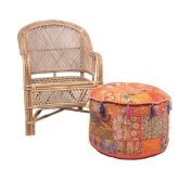 JTH Bohemian Patchwork Large Round Ottoman Seat Floor Décor Pouffe Stool (Size