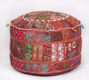 Bohemian Traditional Patchwork Indian Pouffe Large Round Ottoman Seat Pouffe
