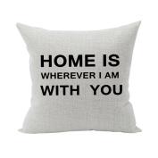 Nunubee Super Soft Pillowcase Cotton Cushion Cover Square Decorative Home Accessories Black Words 1