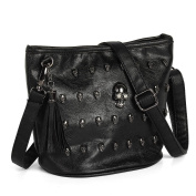 OURBAG PU leather Skull Studs Punk Goth Tassels Messenger Shoulder Tote Handbag Bag