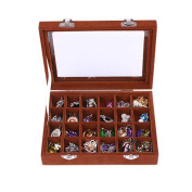 NOVADEAL 24 Grids PU Velour Leather Multipurpose Jewellery Storage Box Ring/Earrings/Necklace Tray Display Case Organiser - Brown