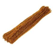 Dophee 100Pcs Glitter Chenille Stems Pipe Cleaners Christmas Tree Handicraft for Children, Glod
