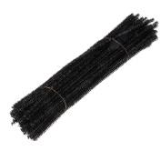 Dophee 100Pcs Glitter Chenille Stems Pipe Cleaners Christmas Tree Handicraft for Children, Black