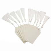 Makhry 100 pcs Imported Rectangular Kraft Paper Bookmarks Gift Tags Wedding Favour Bonbonniere Favour Thank You Gift Tags with 100 pcs Tassels