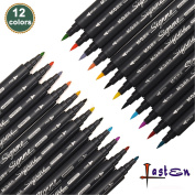Lasten® 12 Colours Dual Tips Colouring Marker Pens Set, Brush Tip(1mm-2mm) & Fine Tip(0.8mm), Watercolour Art Pens, Brush Pens Art Markers, Best for Doodling, Calligraphy, Painting Colouring