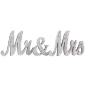 Ling's moment Vintage Silver Glitter Mr & Mrs Wooden Letters for Wedding Decoration