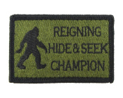 Reigning Hide and Seek Champion Bigfoot Funny Hook and loop Fully Embroidered Morale Tags Patch