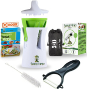 Spiral Ninja Vegetable Spiralizer Bundle - Zoodle Slicer - Courgette Veggie Spaghetti Pasta Noodle Maker - With Ceramic Peeler