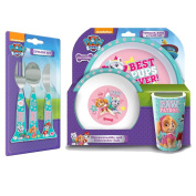 Paw Patrol Girls 3PC Dinner Set and matching 3PC Cutlery Set Combo