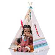 Nicery Reborn Baby Doll Indian Style Black Skin 20inch 50cm Silicone Vinyl Lifelike Boy Girl Toy White Tent