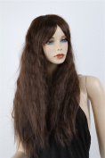 ATOZWIG 60cm Dark Brown Long Fashion Girl's Curly Highlights Hair Party Wig+Wig Cap