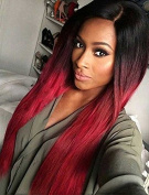 UPTOP Hair Synthetic Full Wig, Long Length, Silky Straight Synthetic Hair Wig Ombre Colours Black to Red for Young Women