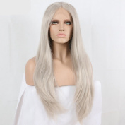 ash blonde silky straight Synthetic lace front wig for women wig with heat resistant fibre darg queen African American black and white women