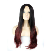 280g 80cm Two Tone Ombre Colour Heat Resistant Synthetic Fibre Wigs Middle Part Natural Straight Black to burgundy Replacement Hair Wig As Real Hair Wig for Daily Use