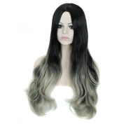 280g 80cm Three Tone Ombre Colour Heat Resistant Synthetic Fibre Wigs Middle Part Natural Black Root Silver Grey Replacement Hair Wig As Real Hair Wig for Daily Use