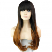 280g 80cm Two Tone Ombre Colour Heat Resistant Synthetic Fibre Wigs Natural Straight with Flat Bangs Replacement Hair Wig With Fringe Bangs