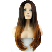 280g 80cm Two Tone Ombre Colour Heat Resistant Synthetic Fibre Wigs Middle Part Natural Straight Replacement Hair Wig As Real Hair Wig for Daily Use