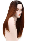 240g 70cm Two Tone Ombre Colour Heat Resistant Synthetic Fibre Wigs Black Root Reddish Brown Middle Part Natural Straight Replacement Hair Wig